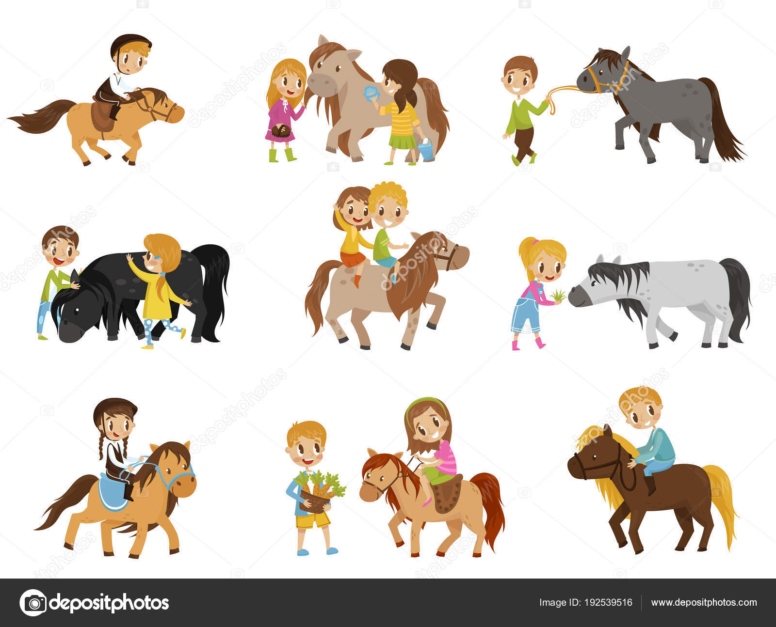 Funny Little Kids Riding Ponies And Taking Care Of Their Horses Set Equestrian Sport Vector Illustrations Stock Vector C Happypictures 192539516