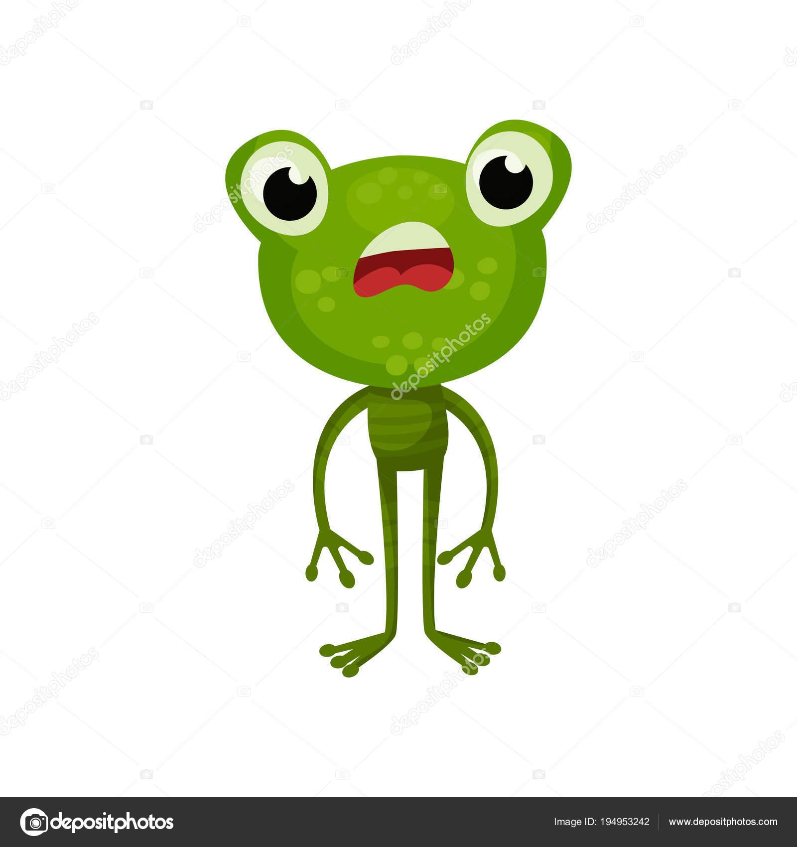 personagem de desenho animado de sapo com expressão de rosto chocado
