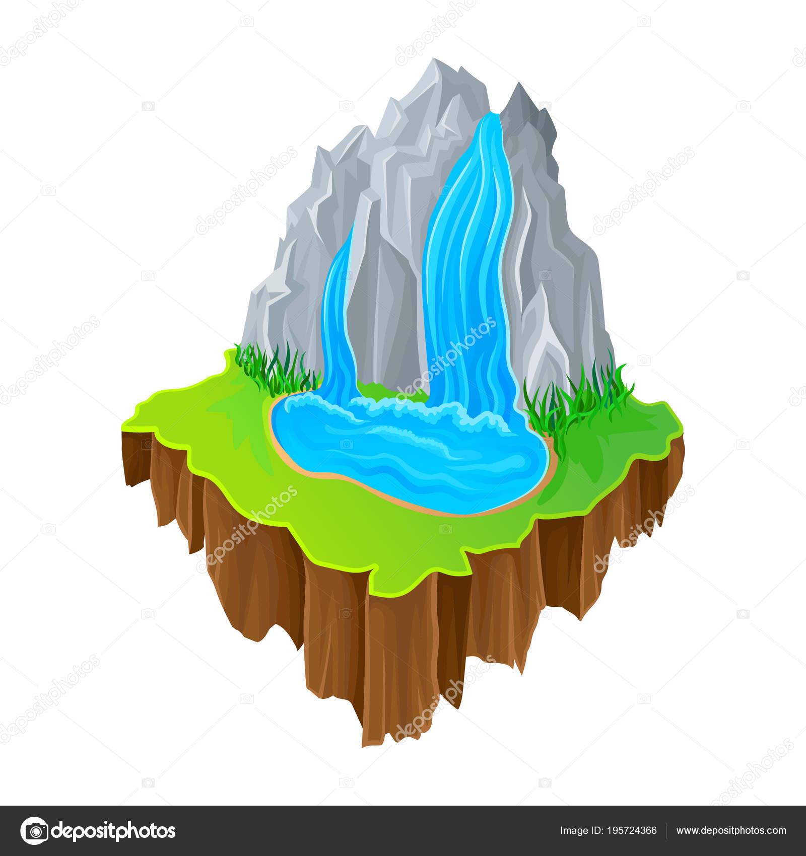 Isometrica Isola Con Cascata E Lerba Verde Paesaggio Pittoresco