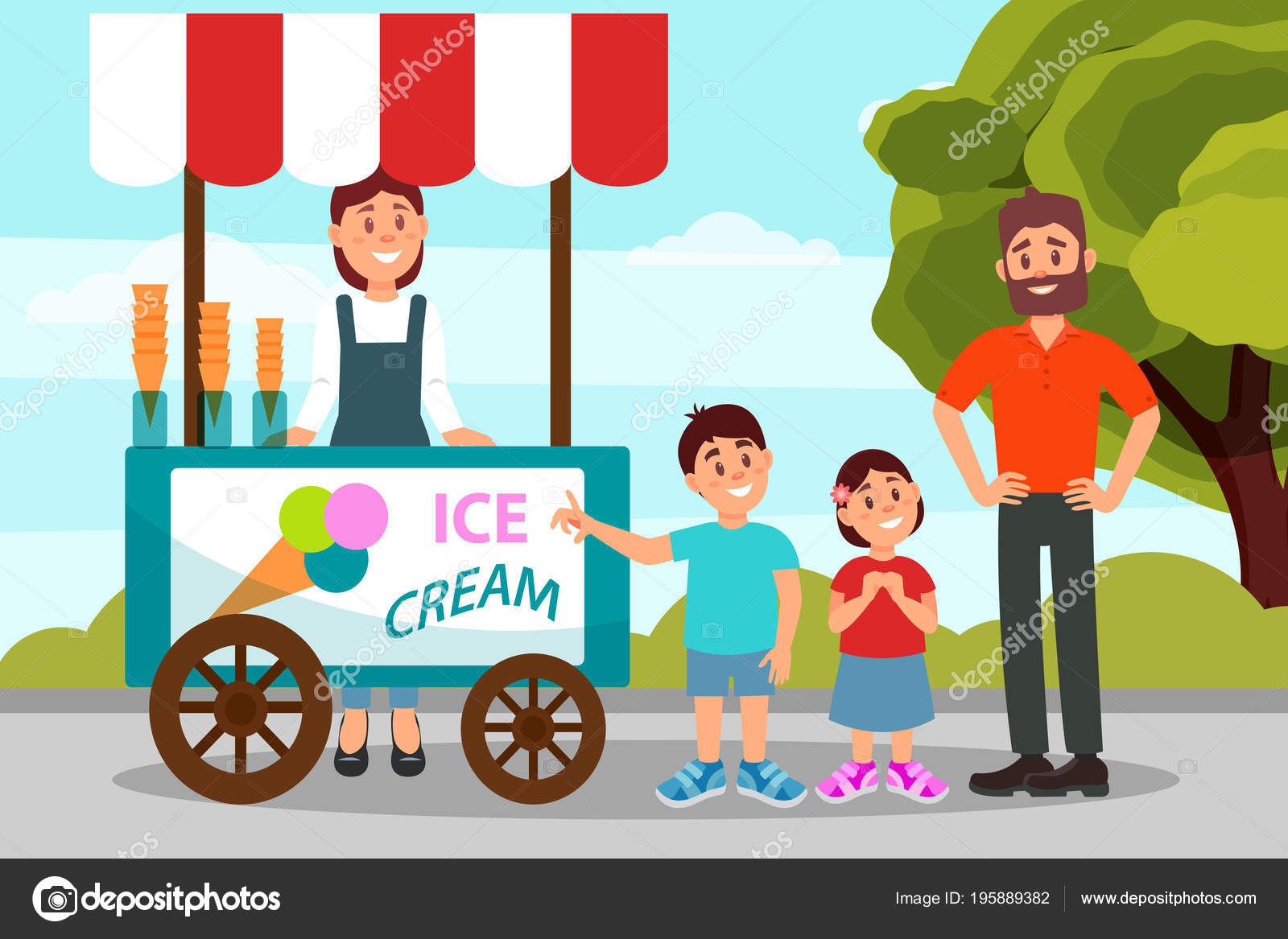 Cute little kids asking his father to buy ice cream. Dad spending ...