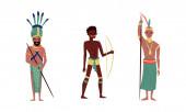 Aborigines mit traditionellen Waffen. Vektor-Illustration auf weißem Hintergrund.