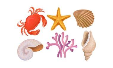 Underwater Ocean Bottom Species Vector Set. Different Marine Food