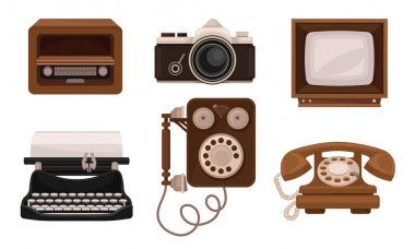 Retro Vintage Household Appliances And Mechanismes Flat Vector Illusration Set