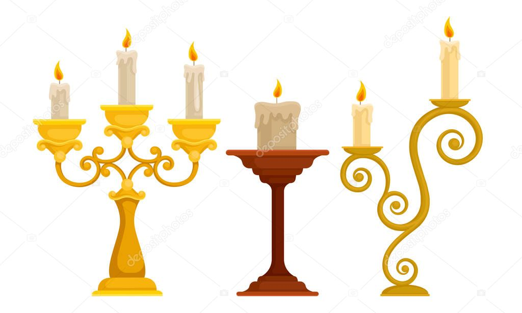 Candlesticks With Burning Candles Vector Set Vintage Candle Holders And Candelabrums Home Interior Element Concept Premium Vector In Adobe Illustrator Ai Ai Format Encapsulated Postscript Eps Eps Format