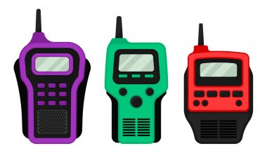 Colorful Portable Radio Device or Walkie Talkie with Antenna Vector Set