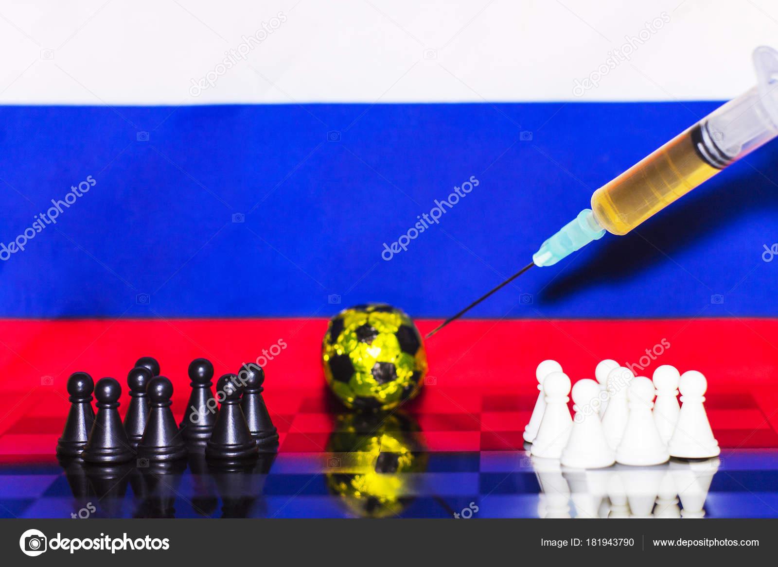 Russland Flagge Schach Wie Ein Fussballfeld 2018 Schwarz Weiss