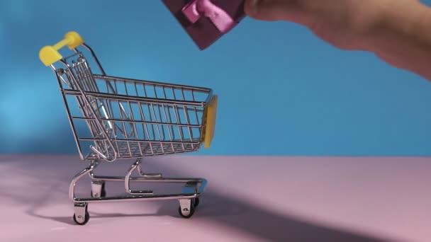 mini nákupní košík ručně dává dárek. použití jako e-commerce, on-line nakupování a obchodní marketing koncept