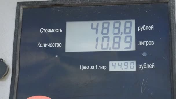 gasoline at the gas station of the car. refueling the car numbers on the tableau