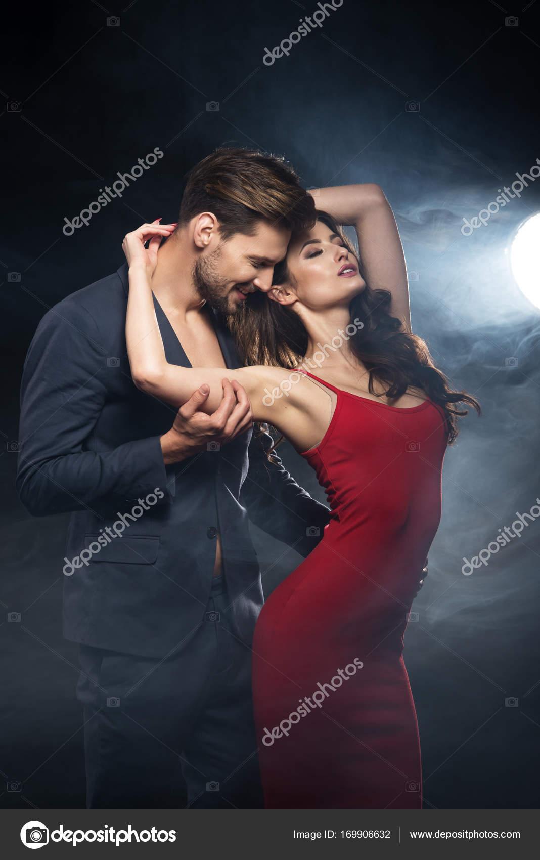 Sexy Elegant Couple Woman Wear Re Dress  Stock Photo  Aarrttuurr 169906632-7598
