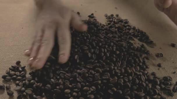 Kávová zrna. Ruce po celém kávová zrna. Dámské ruce dotknout kávová zrna