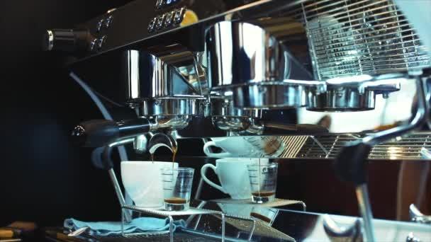 Coffee espresso preparation. Stock footage.