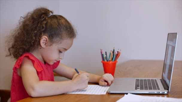 Distance Learning Online Education Schoolgirl Sits at home at her desk Performs a school assignment using a digital tablet device. School program Online lesson with a teacher on the computer.