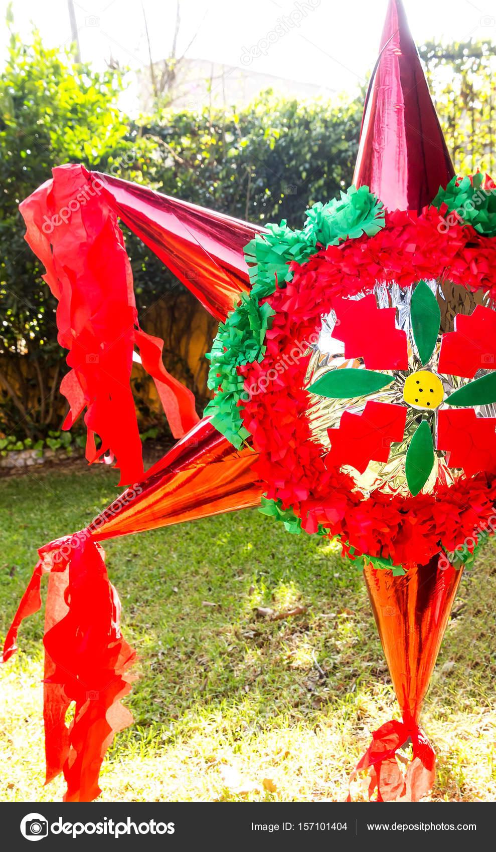 Christmas Pinata.Star Christmas Pinata With Candy Stock Photo C Zsuriel