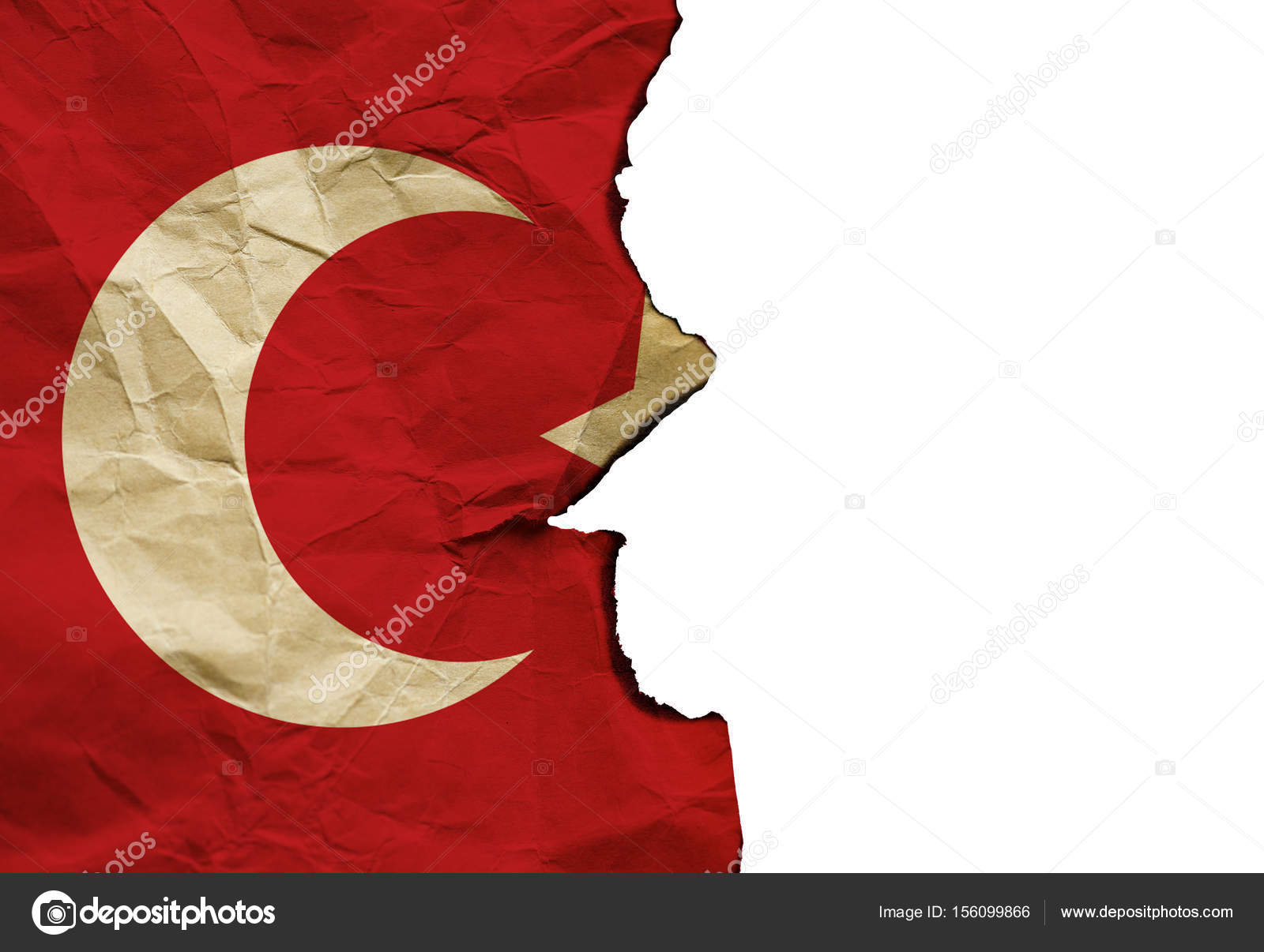 The Scorched Flag of Turkey on white background, concept