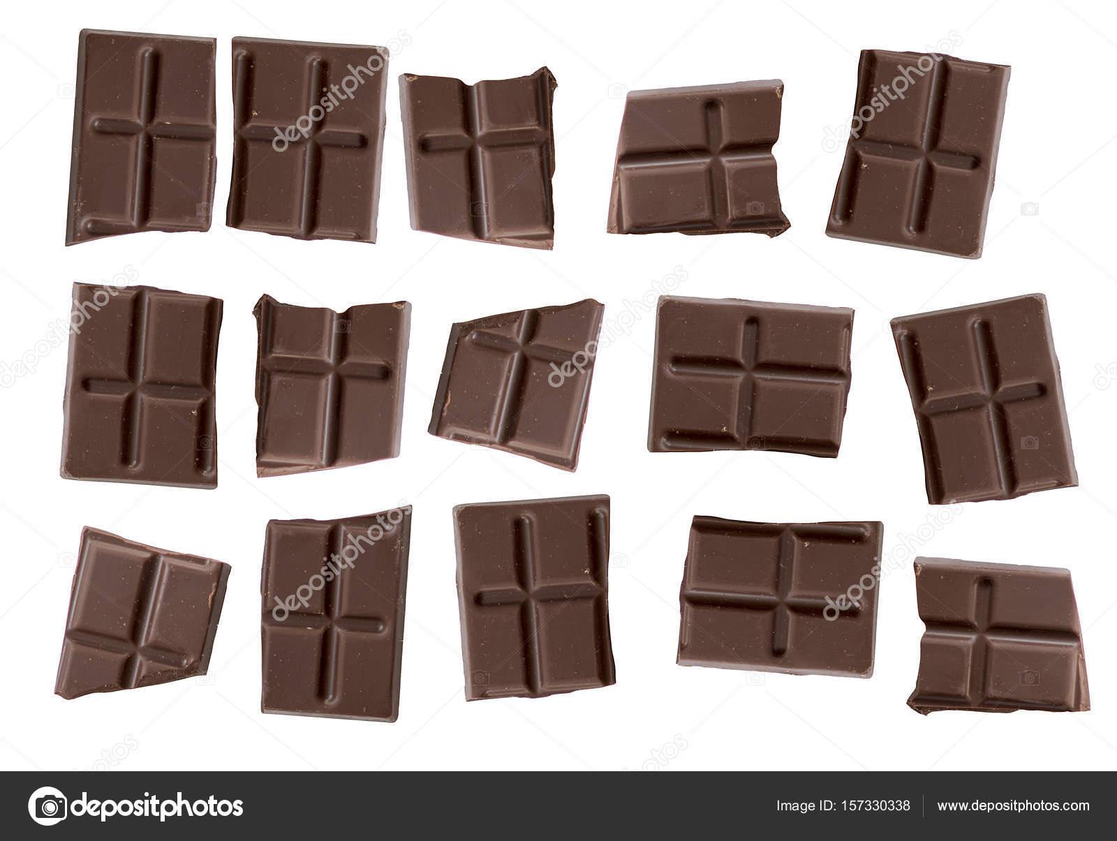 Barras De Chocolate Marron Aisladas Sobre Fondo Blanco Trozos De - Marron-y-chocolate