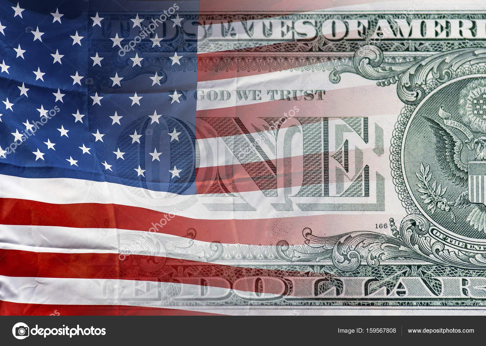 Bandera de Estados Unidos de América y fondo de dinero de un dólar ...