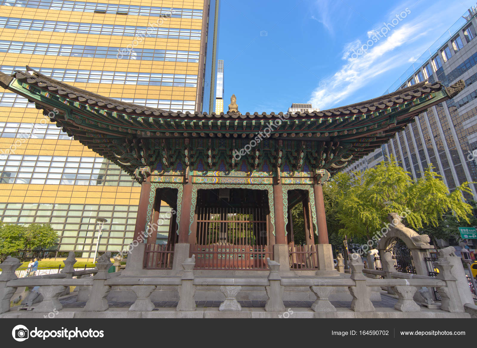 Old Wooden Traditional Korean Pavilion And Modern Buildings