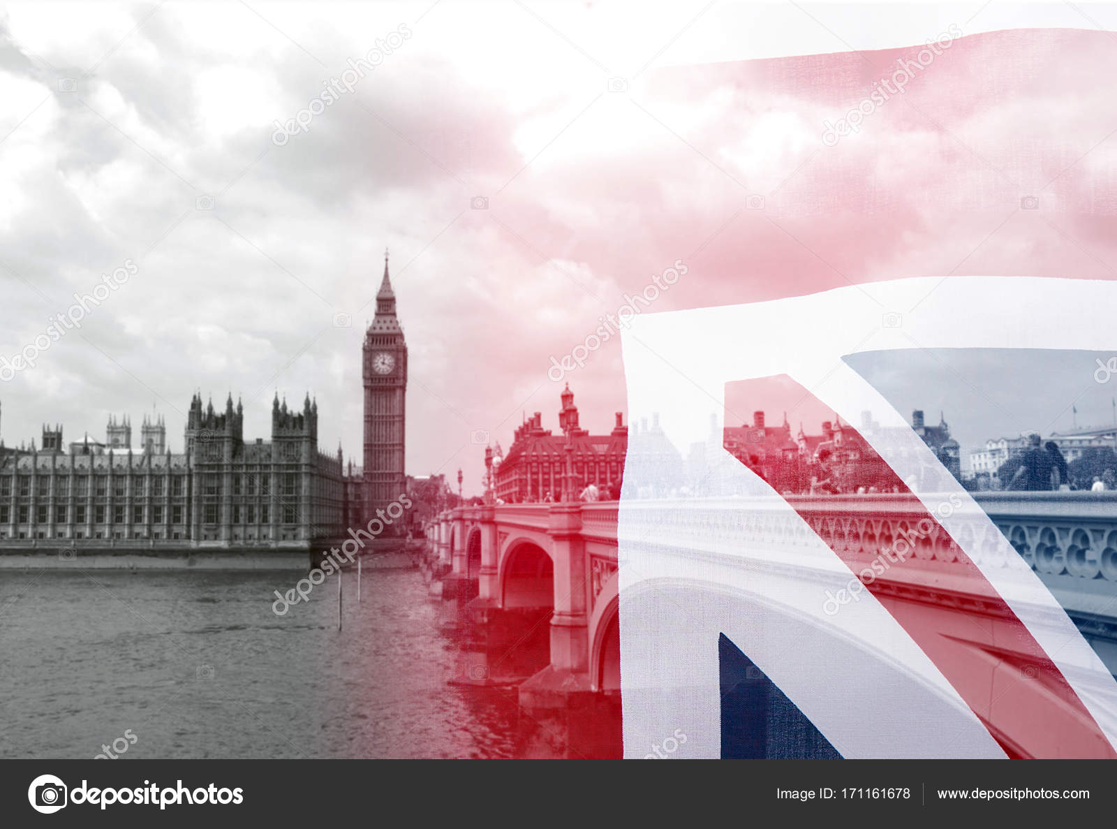 Union Jack Flag And Black White Picture Of London Collage Stock Photo