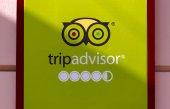 Londýn - Duben 14: Logo Tripadvisor na zdi v Londýně dne 14. 2018 v Uk Tripadvisor, Inc. je americká společnost webové stránky cestování a restaurace poskytující hodnocení hotel a restaurace