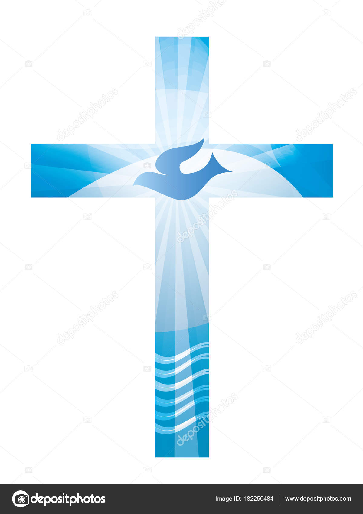 Baptism Christian Cross Dove Waves Water Blue Background Religious