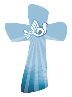 Christian cross baptism. Holy spirit symbol with dove with ray