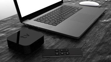 Laptop with blank screen, gray aluminium body. High detailed.