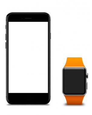Watch and smartphones with blank screen, isolated on white background.