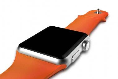 Smart watch silver aluminum body.