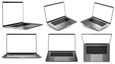 Set of laptops in different positions
