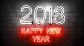 Šťastný nový rok 2018. Neon tvary se světly.