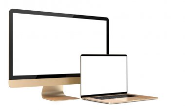 Laptop and tv display, isolated on a white background.