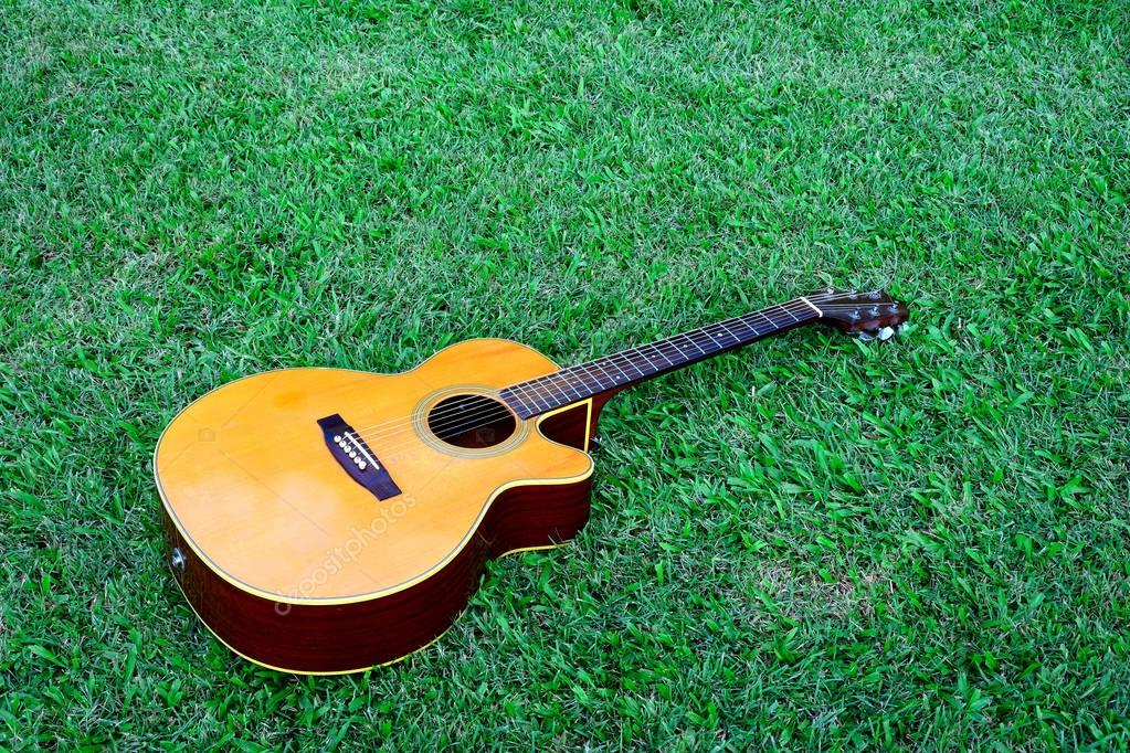 Acoustic brown guitar.