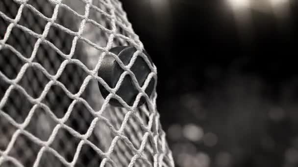Hokejový puk letí do sítě na černém pozadí s foto blesky. V pomalém pohybu
