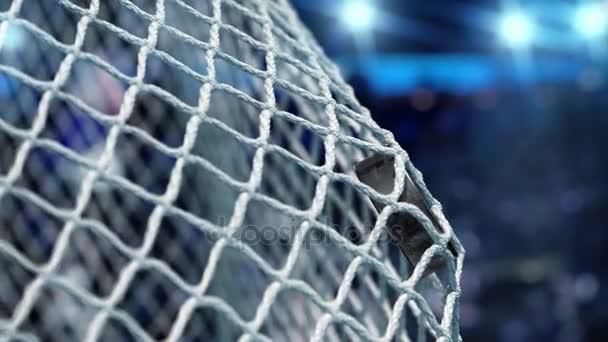 Hokejový puk letí do sítě na stadionu modrá světla. Pohyb na začátku je zrychlený pak pomalu