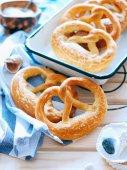 Fotografie Homemade whole meal pretzels with sesame and salt