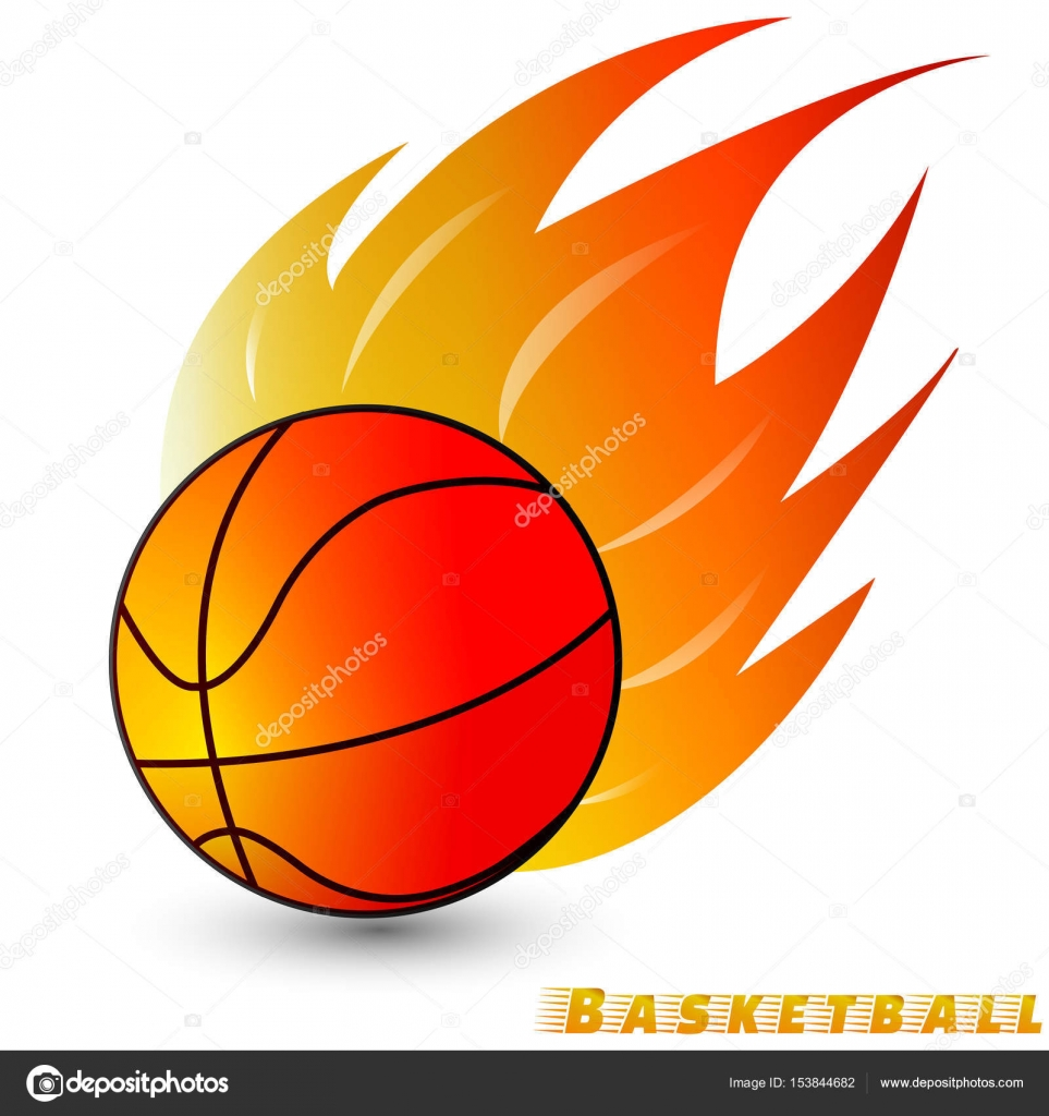 Basketball Ball With Red Orange Yellow Tone Fire In The