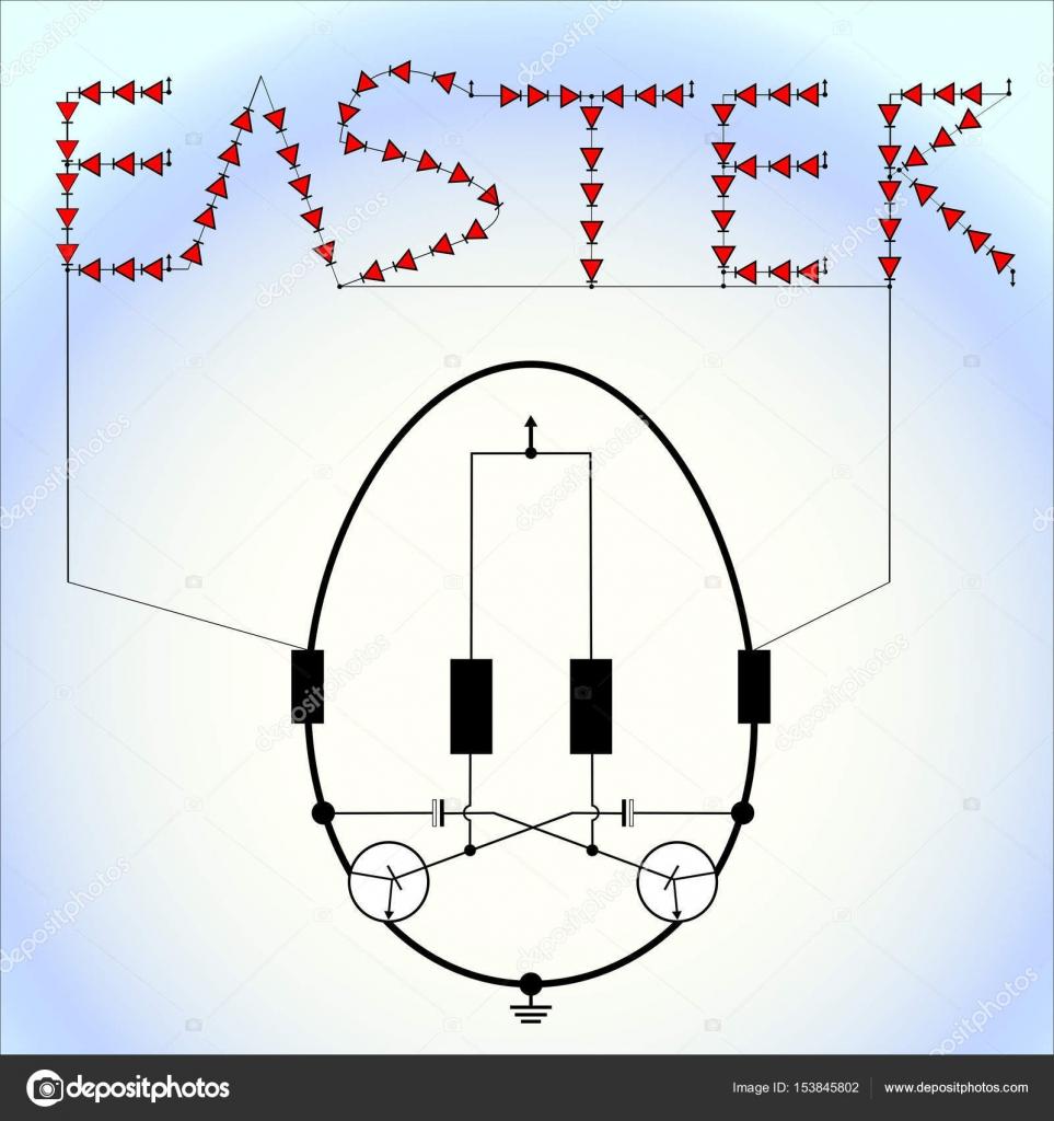 Circuito Led : Led rojo parpadeando huevo de pascua circuito de luz con fondo de