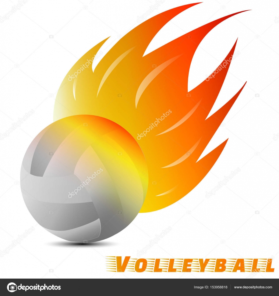 White volleyball ball with red orange yellow tone of the