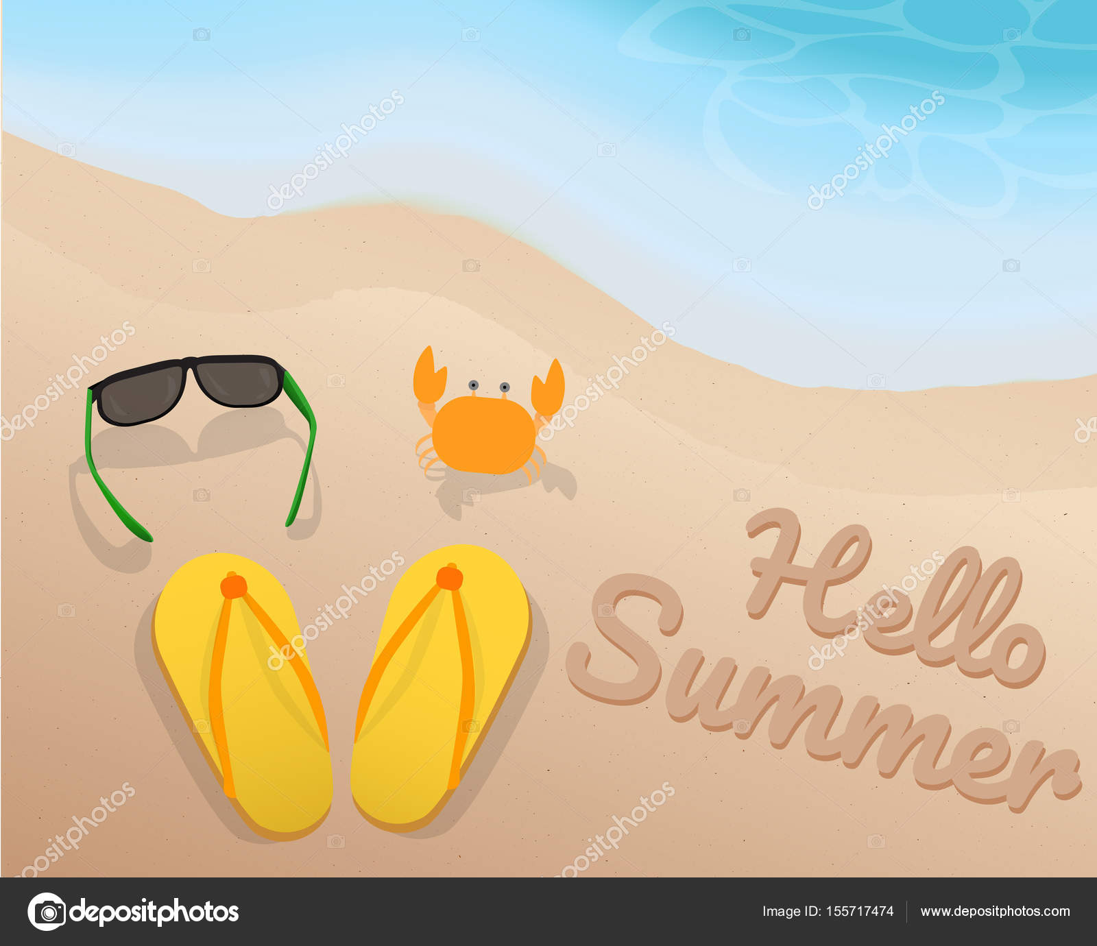 Merveilleux Green Sun Glasses, Yellow Sandals, Orange Crab And Hello Summer On The Sand  With The Blue Tone ...