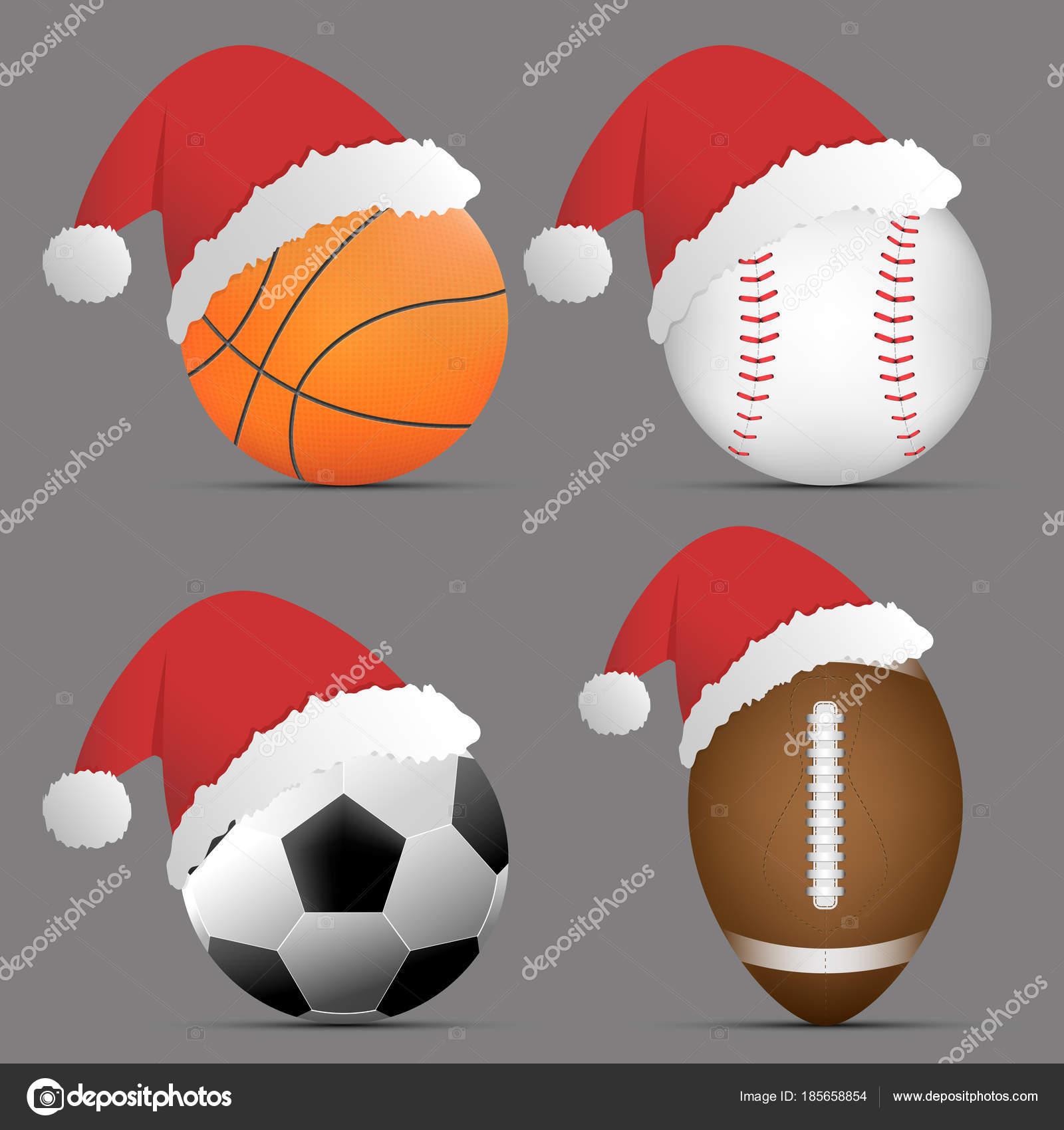 Bonnet De Noel Avec Basket Ball Et Football Ou Soccer Et Rugby Ou De