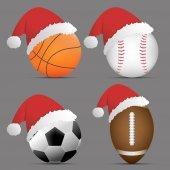Weihnachtsmann mit Basketball und Fußball oder Fußball und Rugby oder American Football und Baseball auf grauem Hintergrund. Set von Sportbällen. Vektor. Illustration. Grafik. Super-Verkauf zu Weihnachten.