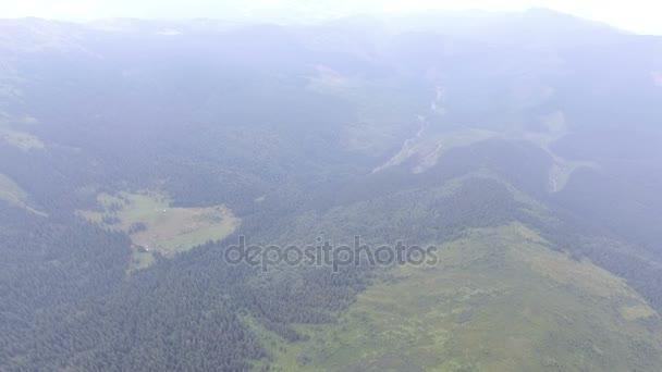 létání nad horský Les v mlze