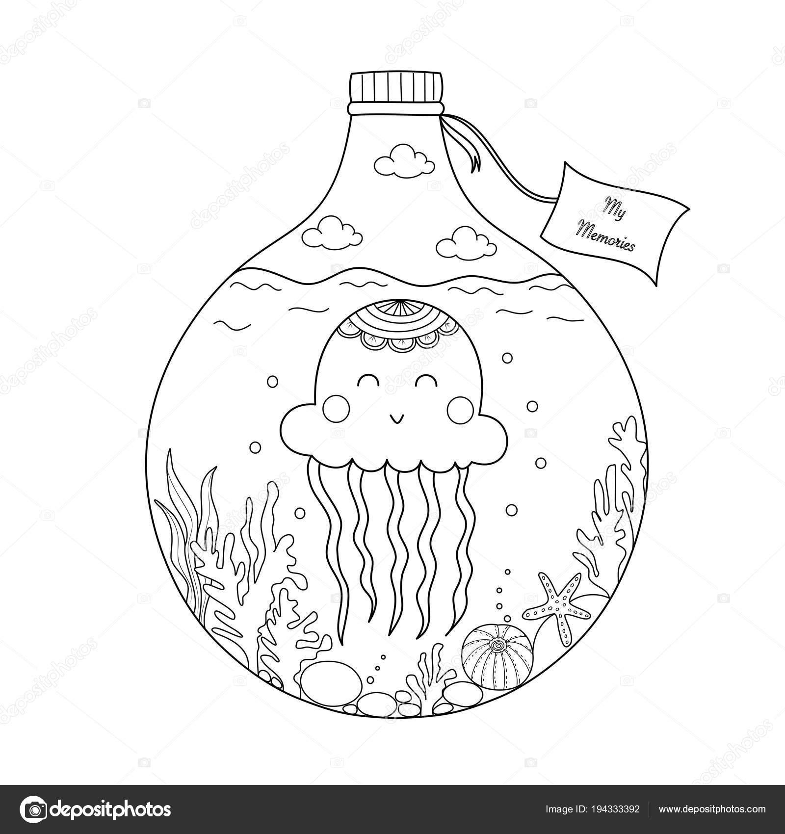 Jellyfish Bottle Coloring Book Adult Kid Vector Illustration Hand