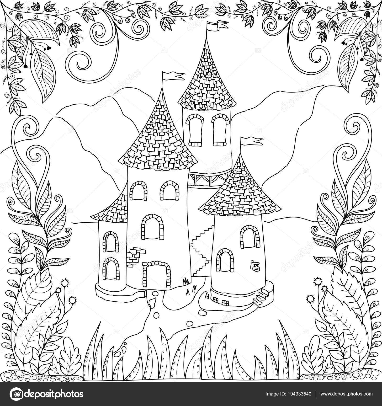 Coloring Book Page Castle Jungle Adult Children Vector