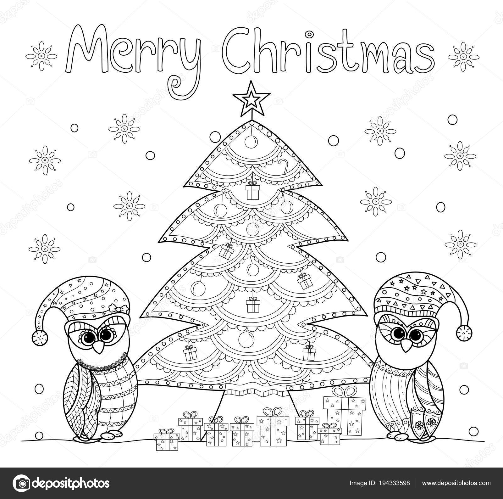 Coloring Book Page Owl Christmas Tree Adult Old Children Vector