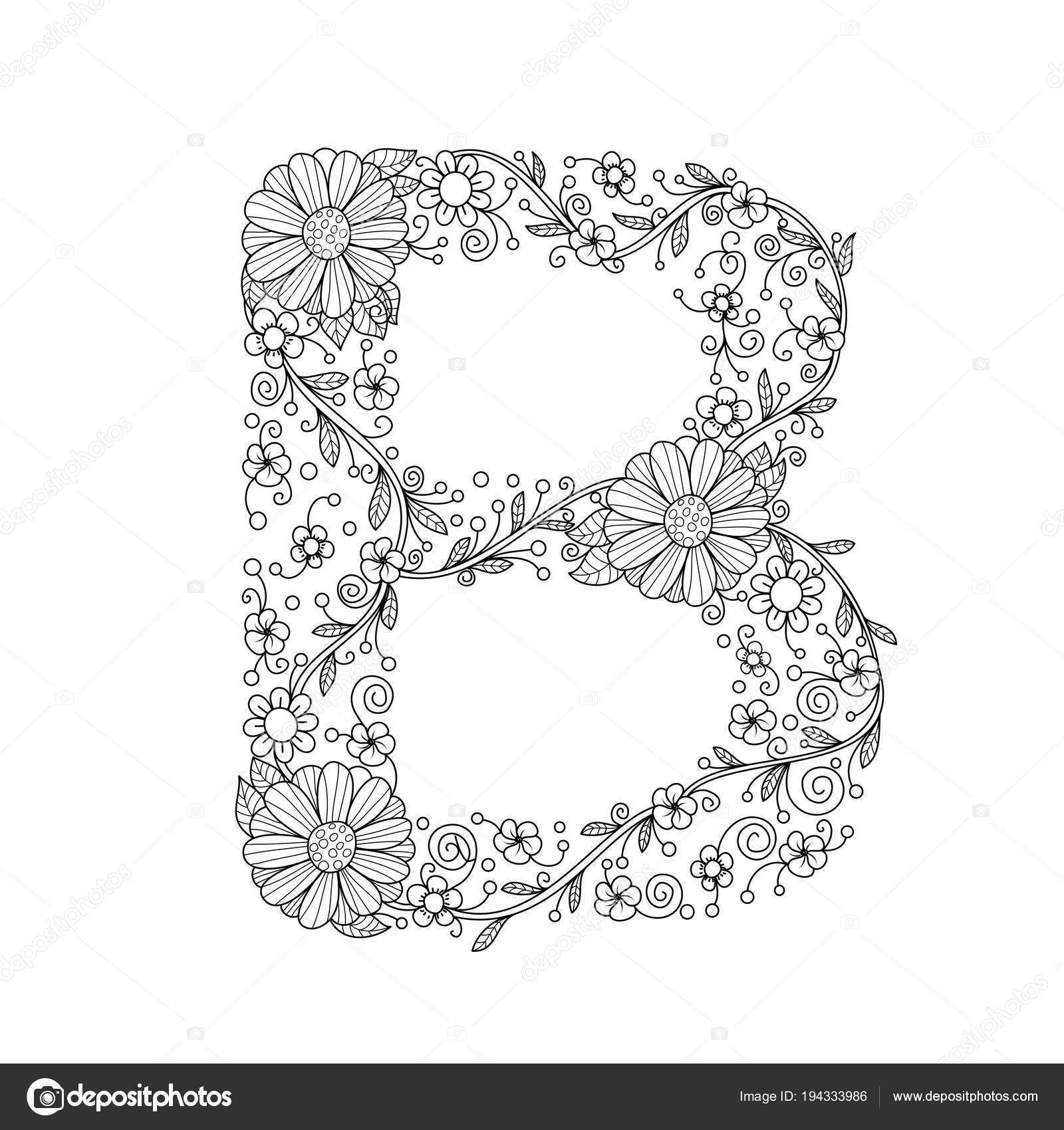 Floral Alphabet Letter Coloring Book Adults Vector Illustration Hand