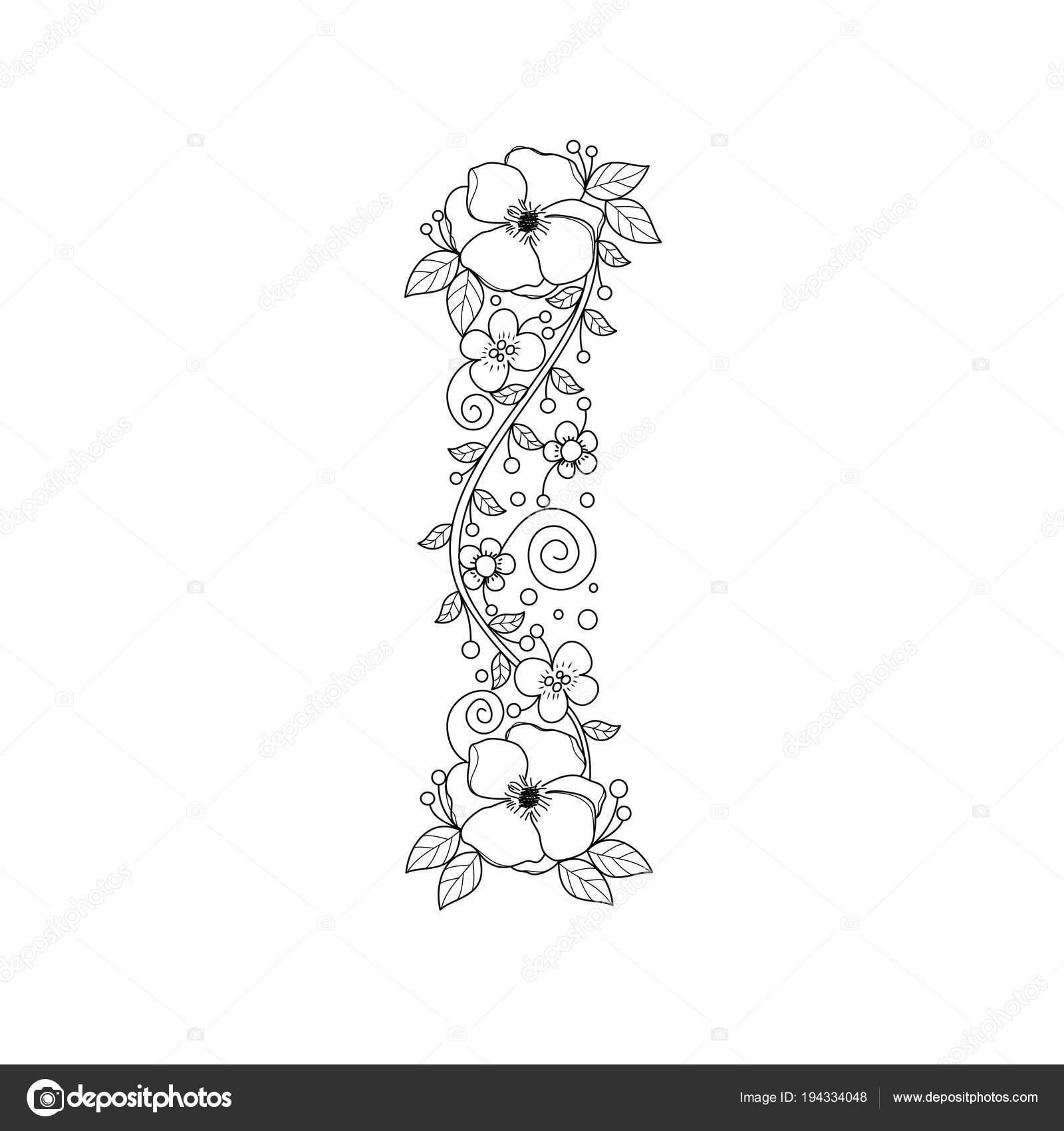 çiçekli Alfabe Harf Boyama Kitabı Yetişkinler Için Vektör çizim Elle