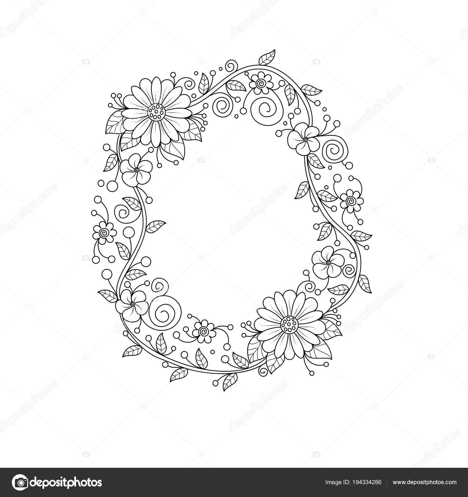 Alfabeto Floreale Lettera Libro Colorare Adulti Illustrazione