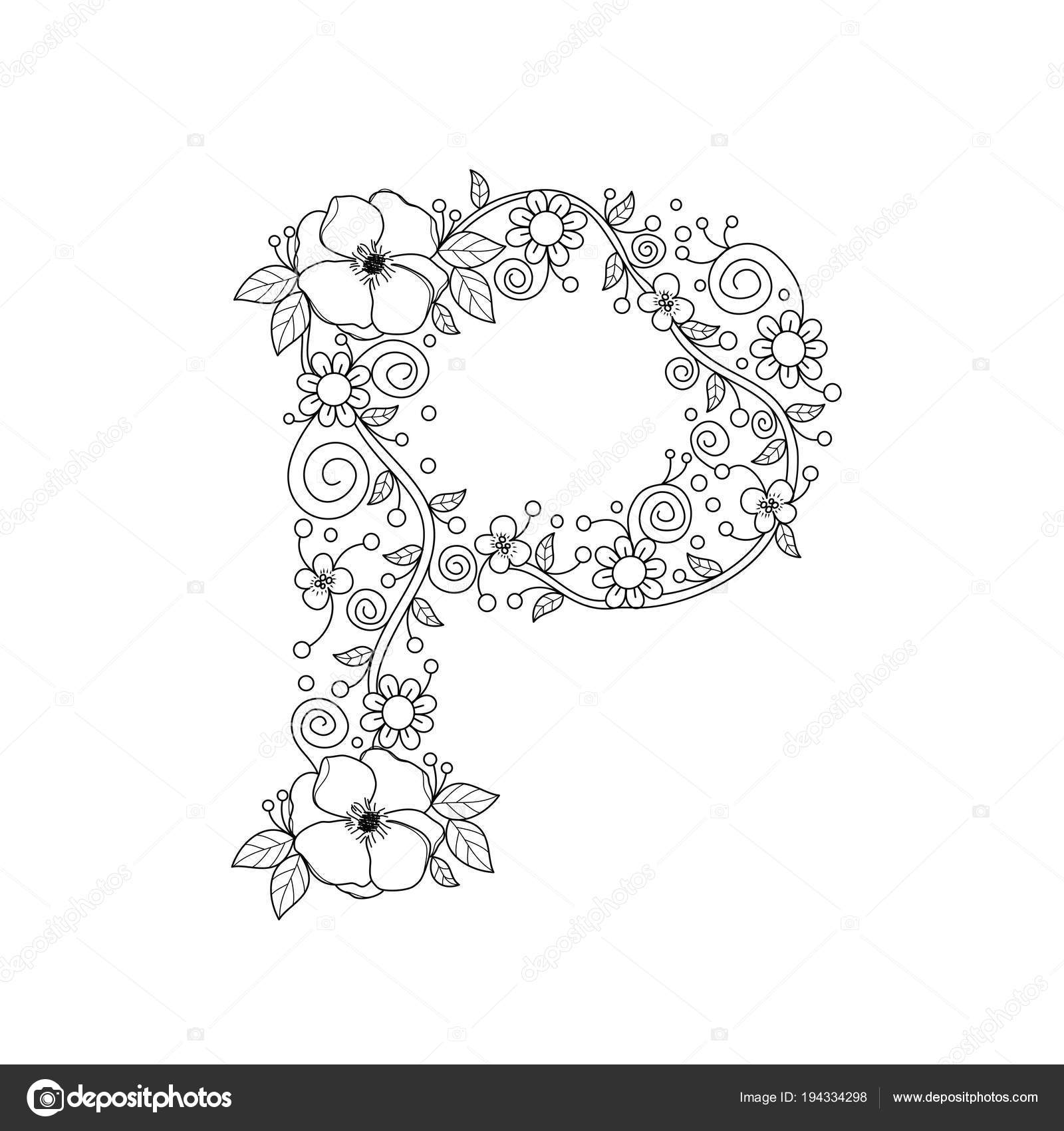 Floral Alphabet Letter Coloring Book Adults Vector Illustration Hand ...