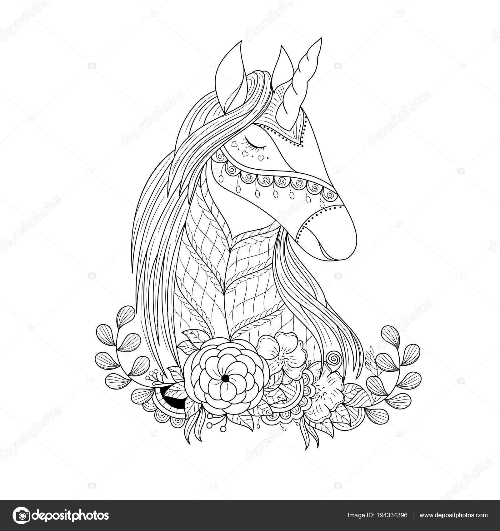 Unicorn Floral Zentangle Adult Coloring Book Page Vector